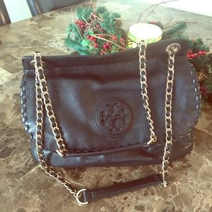 Tory Burch Black Saddle over the shoulder bag